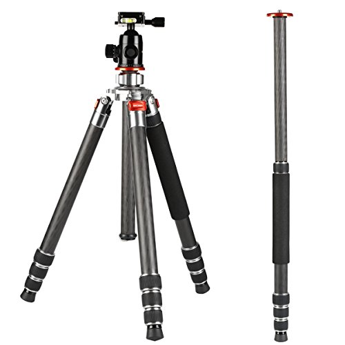 K&F Concept Carbon Fiber Camera Tripod 4 Section 61 Inch Load Capacity 26.46lbs Monopod Compitable with DSLR DV Cameras