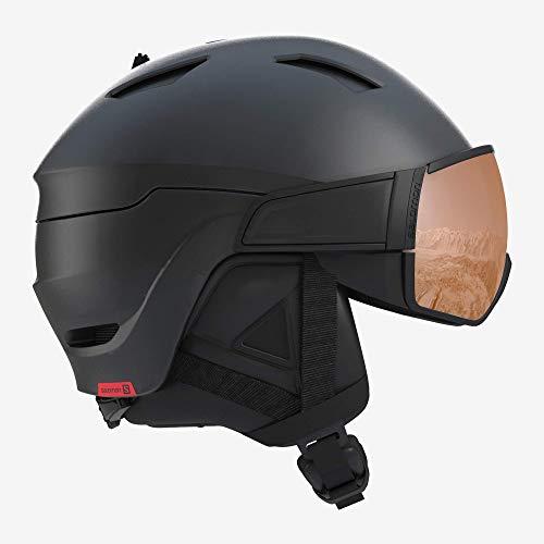 Salomon Herren Driver S Ski- und Snowboardhelm, mit Visier, OTG-Lösung für Brillenträger, EPS 4D-Innenschaum, Kopfumfang 56-59 cm, schwarz (Black/Red Accent), Größe M, L40593300