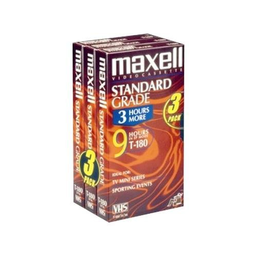 Maxell 213043 T180-GX Standard Grade VHS Video Tape - 3 Tapes