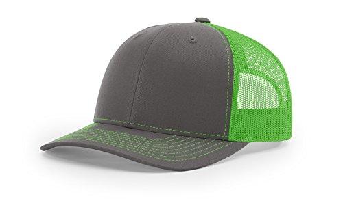Richardson 112 Trucker OSFA Baseball Hat Ball Cap, Charcoal/Neon Green
