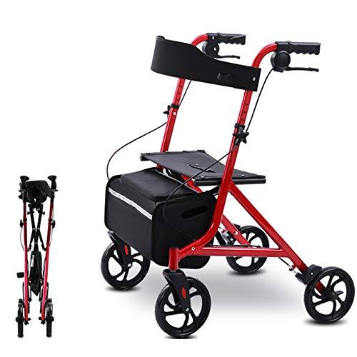 Andador Adulto, Andadores Rollator Plegable para Ancianos Minusválido, Andador de Acero con Asiento y Canasta para Viajes al Aire Libre Compras, Carga: 100KG