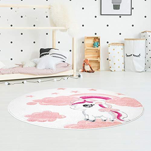 carpet city Kinderteppich Bueno Konturenschnitt mit Einhorn, Sterne, Regenbogen in Creme/Rosa für Kinderzimmer, Größe: 160 cm rund