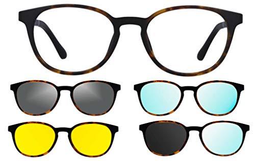 Ultem THEMA U-285 Farbe M07 Schildkröte Rahmen für Brille und Sonnenbrille + 4 Clip-on Original-Linie