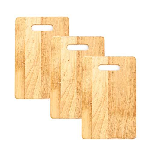Flanacom 3X Schneidebrett im Set - Hochwertige Frühstücksbrettchen aus nachhaltigem Bambus-Holz - Holzbrett mit Griff - 32 x 22 cm (3er Set)