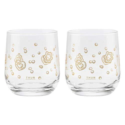THUN - Set 2 Bicchieri con Decorazioni Dorate - Natale - Accessori Cucina - Linea Gold Icons - Vetro, Oro 24 K - Ø 8,7 cm