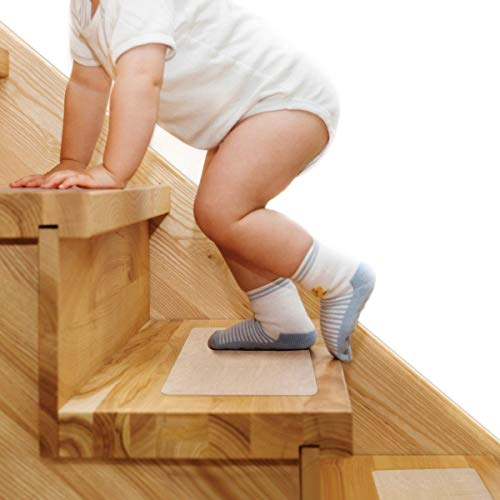 """Stair Treads Non Slip 6""""x 24"""", Butizone 15-Pack Pre-Cut Transparent Anti Slip Strips, Soft and Waterproof Tape for Floor, Bathtub, Bathroom, Safety for Elderly, Children, and Pets"""