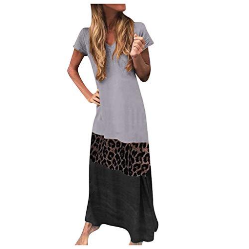 ReooLy Mujeres Tallas Grandes O-Cuello Manga Corta hasta el Tobillo Estampado de Leopardo Vestidos a Juego de Color