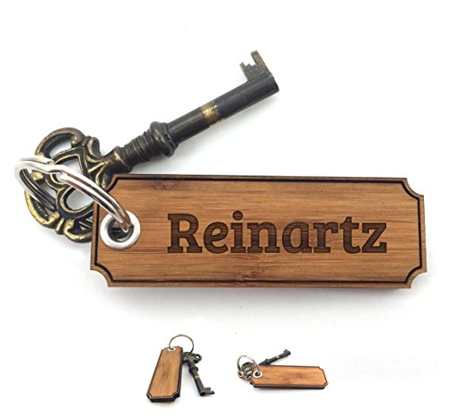 Mr. & Mrs. Panda Schlüsselanhänger Nachname Reinartz Classic Gravur - 100% handgefertigt aus Bambus Holz - Anhänger, Geschenk, Nachname, Name, Initialien, Graviert, Gravur, Schlüsselbund, handmade, exklusiv