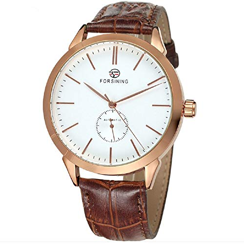 Yisuya Armbanduhr für Herren, mechanische Sportarmbanduhr mit Echtleder-Armband, analog, selbstaufziehend, modisch