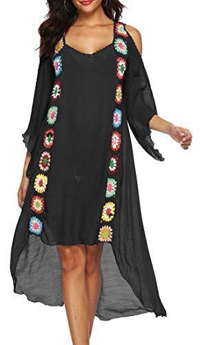 Copricostume Donna Mare Uncinetto Taglie Forti Vestito Etnico Estate Boho Hippie Chic Caftano Kaftano Elegante Kimono Abito Manica 3/4 Pipistrello Tunica da Spiaggia Costumi da Bagno Bikini Cover Up