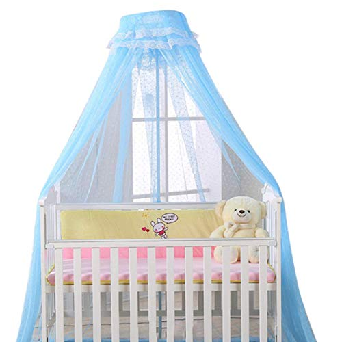 Baldacchino per letto con supporto zanzariera, per lettino, protezione letto, contro insetti, ragni, zanzare, decorazione per letto bambino, bianco con palo (blu)