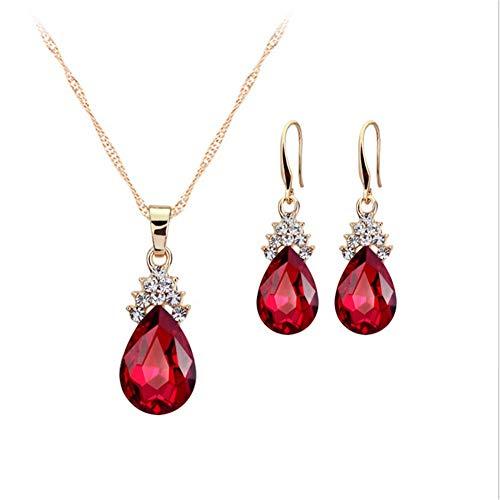 Dosige Collier en Cristal Boucles d'oreilles et 1 pcs Collier Dames Bijoux en Forme de Gouttes d'eau Anniversaire Valentine Anniversaire Cadeau