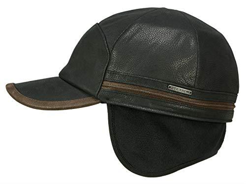 Stetson Baseball Cap Cowhide Schirmmütze mit Ohrenklappen aus Leder - Schwarz (16) - 62-63 cm (XXL)