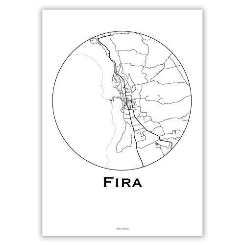 Plakat Fira Santorin Griechenland Minimalist Map - Poster, City Map, Dekoration, Geschenk