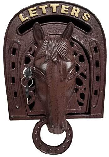 Briefkasten, Wandmontage, Pferde-Design, rustikales Braun