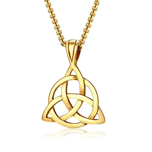 XINTON Herren Halskette Lucky Trinity Knot Charm Anhänger Halskette Edelstahl Schmuck Für Männer Unisex