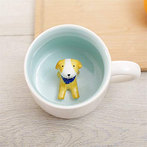 Surprise 3D Coffee Mug Animal Inside 12 oz with Dog,Cute Cartoon Handmade Ceramics Cup,Christmas Birthday Surprise for Friends Family or Kids,Best Office Cups Morning Mugs.(12 oz Dog-1)
