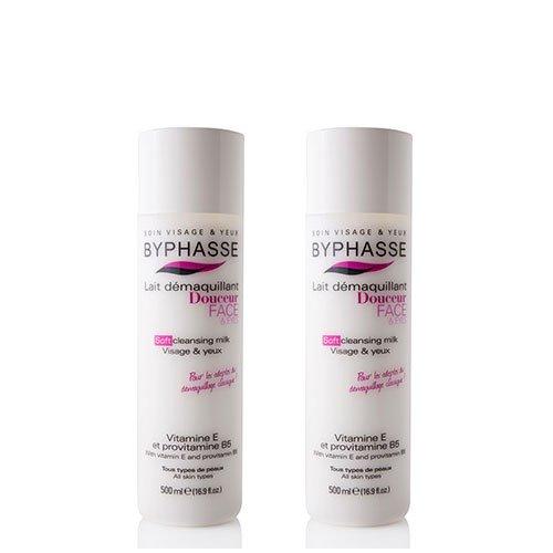 Byphasse LOT DE 2 - Lait démaquillant douceur visage & yeux tous types de peaux (bouteille) - 500 ml - Tous types de peaux