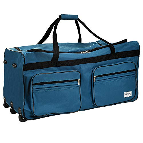 Deuba Bolsa de Viaje XXL 85x43x44 Maleta Azul Claro 160L con 3 Ruedas y Candado Mango telescópico extraíble Bolso Deportivo