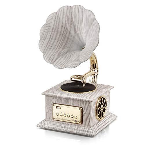 YLLYI Mini Bluetooth Audio Phonograph Modellierung Kleines Zuhause Wohnzimmer Desktop Audio Bluetooth Lautsprecher Dekoration Plattenspieler,Weiß