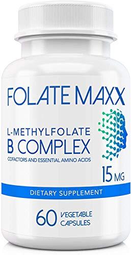 FolateMaxx L-Methylfolate 15 MG + B12 B6 B Complex 60 ct Professional Top Quality Active Folate Non-GMO Gluten Free Methyl Folate, 5-MTHF
