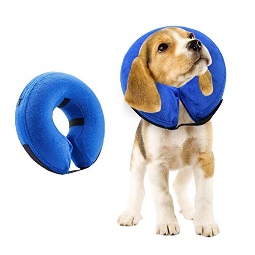 VST Comfortable Protective Inflatable Cone Collar for Small Medium Large Dogs Cats,Adjustable Soft Pet Recovery Cloud E-Collar Prevent Pets from Touching Biting Scratching at Injuries Wounds-Medium