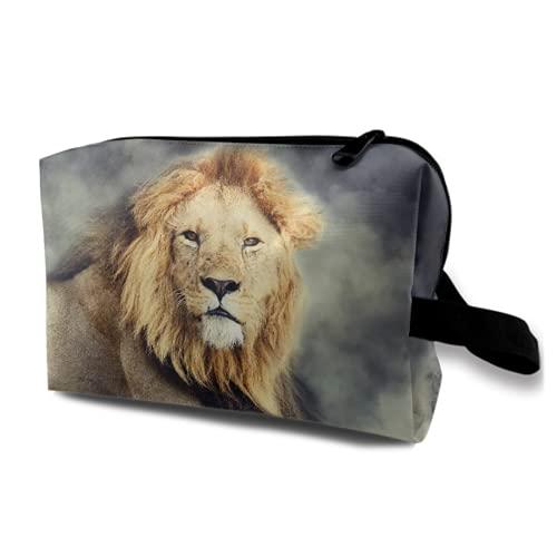 Neceser Colgante de Viaje,Cerrar león Macho en Humo sobre Fondo Oscuro,Organizador de Maquillaje cosmético Bolsa de higiene y Organizador de Ducha