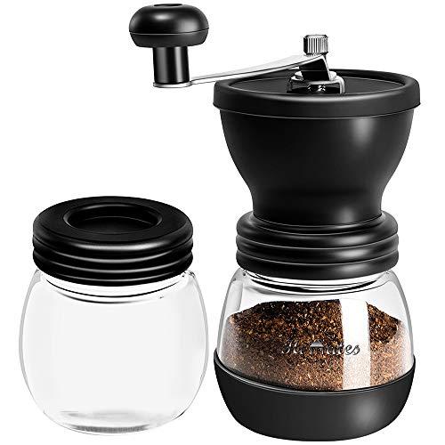 Homates 手挽きコーヒーミル 保存用ビン1個付属 手動 セラミック臼 滑り止め付き ガラス本体 粗さ調節機能 コーヒー豆挽き器 水洗い可能 キャニスターセット