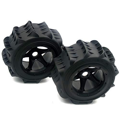 FLMLF Sand Wheel Tire Set (2pcs for 1/5 Baja 5B 5T 5SC Size 190 90mm Hub Adapter Hexagon 24mm rc...