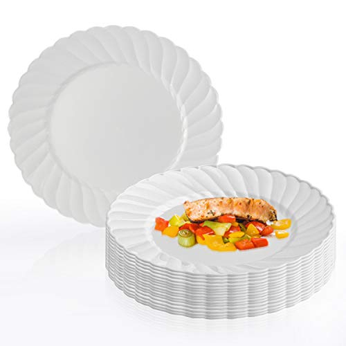 "Kaya Collection - 6"" White Round  Dessert/Pastry Plates 180 Count - Fancy Disposable - For Party's And Weddings"