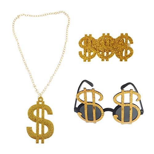 non-brand Collar de Gafas de Sol con Signo de Dólar USD de Oro Brillante de 3 Piezas años 80