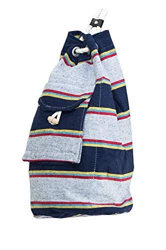VENERIS MILANO Turnbeutel aus robuster Baumwolle – Stoffrucksack mit Außentasche und verschließbarer Innentasche (Urban Stone)