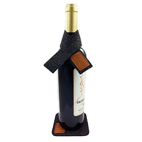 Venetto Set für Wein Weinmanschette Tropfstopper Weinkragen Schal Tropfenfänger mit Untersetzer aus Filz Mit Echtleder-Applikationen (Meliert Schwarz)