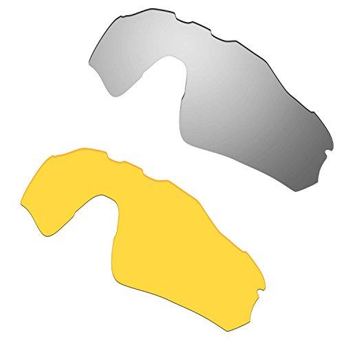 HKUCO Mens Replacement Lenses For Oakley Radar EV Path Sunglasses Silver/Transparent Yellow Polarized