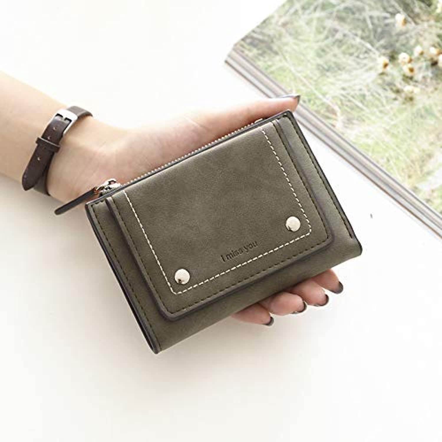 New Wallet Female Short Student Retro Korean Simple Korean Cute Mini Coin Purse (color   Grey) Ladies Purses (color   Green)