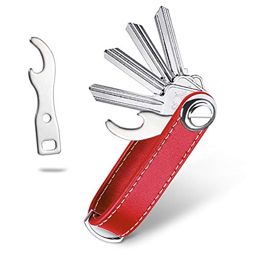 flintronic Key Organizer | Schlüsselanhänger Echtes Leder | Pocket Smart Key Holder mit Flaschenöffner und Praktischer Geschenkbox (für 7-9 Mehrfachschlüssel) - Rot