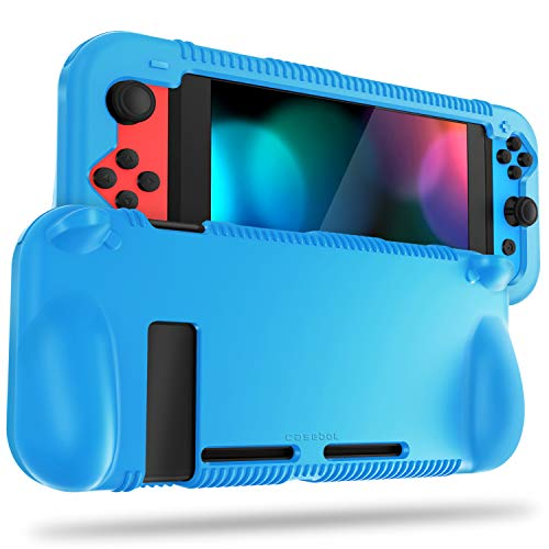 FINTIE Silicone Case Compatible with Nintendo Switch - Soft [Anti-Slip] [Shock Proof] Protective Cover with Ergonomic Grip Design, Drop Protection Grip Case (Blue)