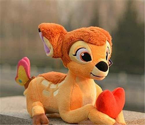 Boufery Lindo Juguete de Felpa Bambi con corazón, Suave muñeco de Peluche de Ciervo Sika, muñeco de Ciervo Kawaii Regalo de cumpleaños para bebés y niños 28cm