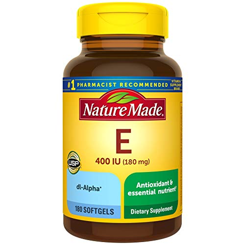 Nature Made Vitamin E 180 mg (400 IU) dl-Alpha Softgels, 180 Count for Antioxidant Support