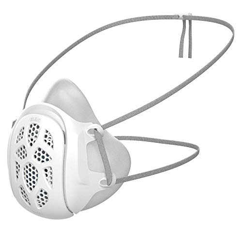 GILL Mask | Eco-Friendly Reusable Half Mask Respirator | Uses Your Own Disposable Face Mask as a Filter | Adjustable Strap Dust Mask | (White, Adult Regular)