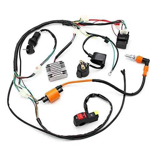 RONGSHU Cableado eléctrico arnés alambre de telar de alambre kit completo ajuste para ATV QUAD 150/200 / 250CC playa CANAL DE TELEVISIÓN BRITÁNICO Cableado de motocicletas Arnés Accesorios para automó