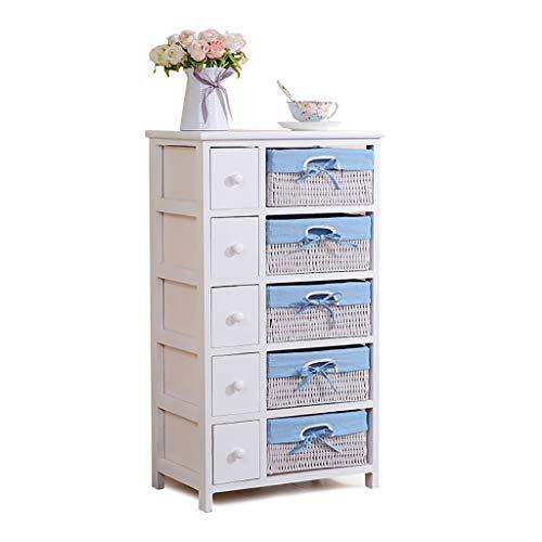 Lw plank meubilair slaapkamer kist van laden, 5-laags kast lade met rieten manden