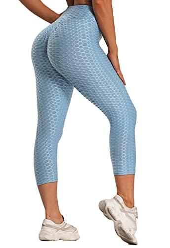 FITTOO Mallas 3/4 Leggings Capris Mujer Pantalones Yoga Alta Cintura Elásticos Super Suave #1 Azul Cielo XL