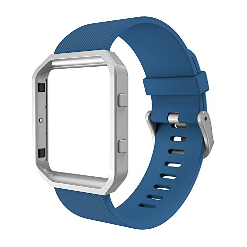 Simpeak Sport Band Compatible with Fitbit Blaze Smartwatch Sport Fitness, Silicone Wrist Band with Meatl Frame Replacement for Fitbit Blaze Men Women, Small, Blue Band+Silver Frame