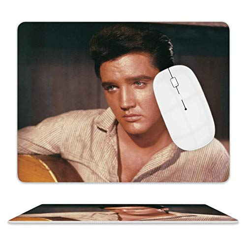 Elvis Presley Singing Gaming, Office Desk Accessories, Laptops, and Other Edge Stitched Mouse Pads, 3D Non-Slip, Waterproof and Durable Rectangular Mouse Pads
