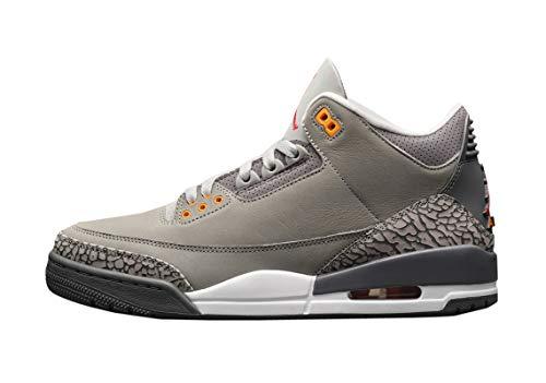Nike Air Jordan 3 III Retro Cool Grey 2021 CT8532-012 US Size, (Silber/Hellgraphit-Orange P), 45 EU