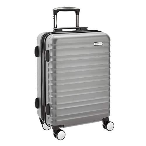 Amazon Basics - Maleta rígida de alta calidad, con ruedas y cerradura TSA incorporada, 55 cm, gris, apto para la mayoría de las aerolíneas de bajo coste