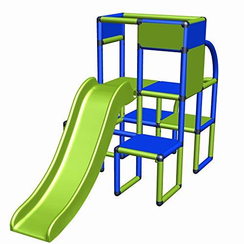 Moveandstic 6438 - Spielturm Tim Gartenhaus Spielhaus Kletterturm mit Rutsche für Kleinkinder Kinderzimmer Spielzimmer Garten