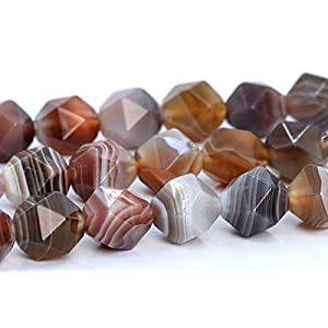 7-8MM Botswana Agate Star Cut Faceted Grade AAA Beads Jewelry Making