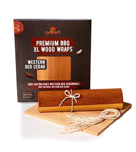 grillart® Premium BBQ Wood Wraps - 12 Stück XL Grillpapier – Zedernholz zum Grillen – Räucherpapier aus Zedernholz für einen besonderen Grillgeschmack